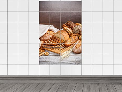 Piastrelle adesivo piastrelle stampa su pane panini frumento cibo