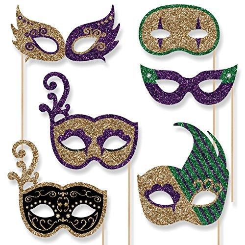 Mardi Gras Masks Set - Masquerade Party Photo Booth Props Masks Set - 10 Count