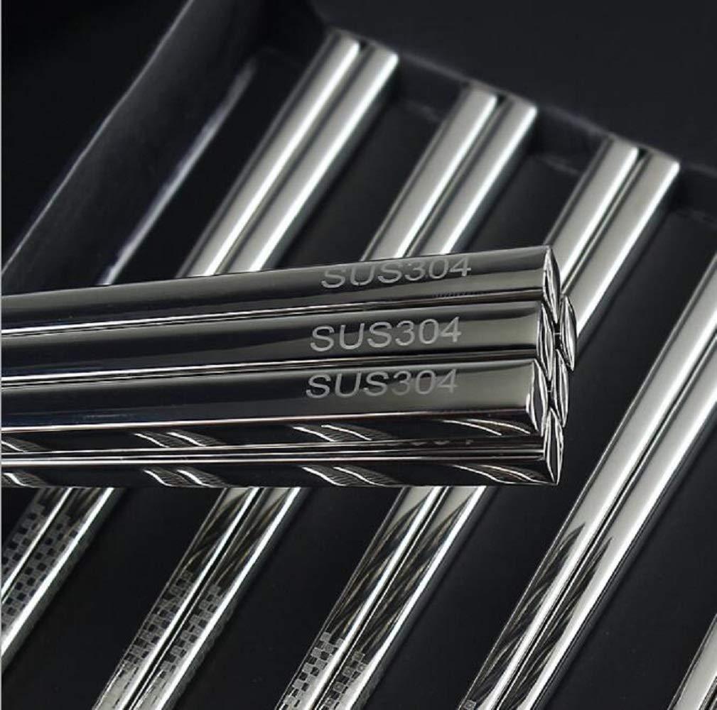 Metal Chopsticks Stainless Steel Chopsticks Bulk Reusable, Dishwasher Safe for Kitchen Dinner, 5 Pairs by G.YOY