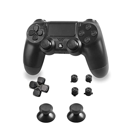 Xinkeen Aluminum Alloy PS4 Controller Replacement Thumbsticks Bullet ABXY  Buttons and Directional Pad Mod Kit for Playstation 4 DualShock 4 (Black