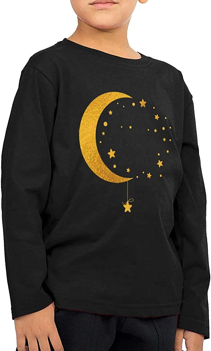 I Love You to The Moon and Back Kids Long Sleeve Crew Neck Cotton T-Shirts Graphic Shirt for 2-6T Baby