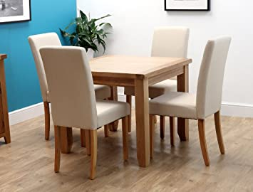 Harts rustic oak square dining table with 4 chairs cream chelsea harts rustic oak square dining table with 4 chairs cream chelsea watchthetrailerfo