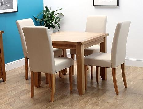 Harts, tavolo da pranzo rustico quadrato in quercia massiccia con 4 ...