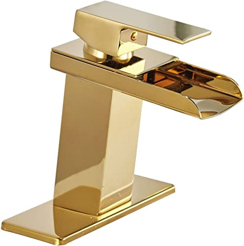 Homemystique Bathroom Sink Faucet Waterfall Gold Single Handle One Hole Brass Lavatory Mixer Tap Deck Mount Supply Hose Lead-Free