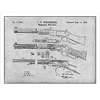 1866 Winchester Lever Action Rifle Patent Print Art Poster UNFRAMED Gray 18