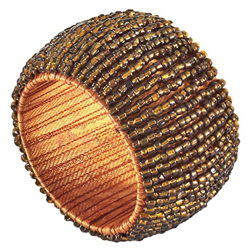 SARO LIFESTYLE NR283.BZ Beaded Napkin Rings (4 Pack), Bronze, 3