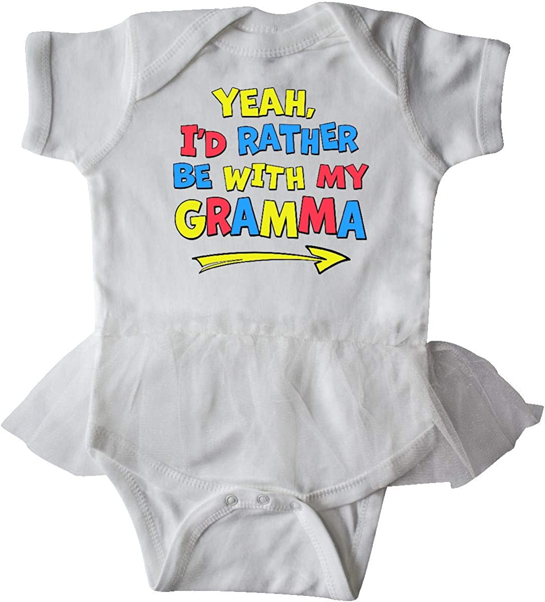 inktastic Yeah Id Rather Be with My Gramma in Red Yellow Infant Tutu Bodysuit