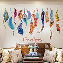 """3D Self-adhesive Removable Break Through the Wall Vinyl Wall Sticker/Mural Art Decals Decorator (Lucky Arts Colorful Feather((27.6"""" X 19.7""""/70 x 50CM))"""
