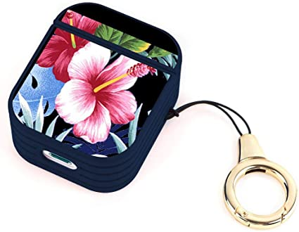 Blue Striated Hard Airpods Case Lightweight Protective Cover with Magnet and Ring Dragonfly
