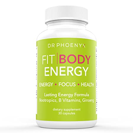 Dr. Phoenyx FitBody Energy Nootropic – Boosts Energy and Mental Focus – Brain Booster Supplement with Ginseng, Maca Root, Energy Vitamins, B Vitamins, B12 – 30 Day