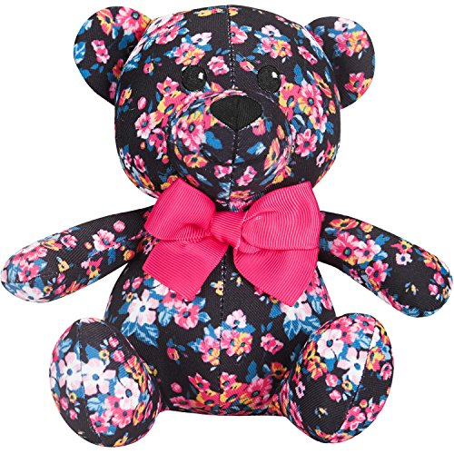 Blueberry Pet Gift Toys for Puppies & Dogs, 6, Made Well Elegant Floral Print Sleek Black Happy Bear Designer Squeak Plush Small Dog Toy