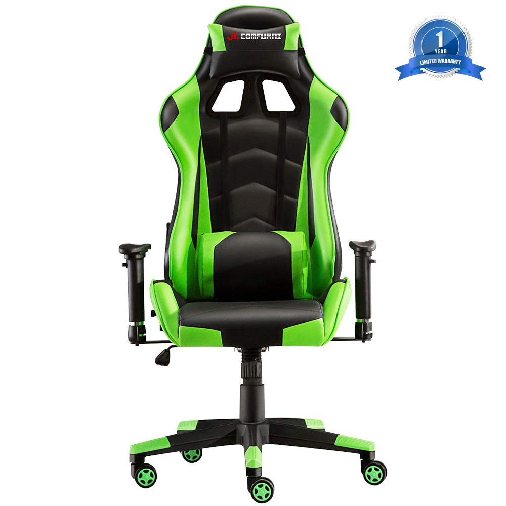 JL Comfurni Gaming Chair Racing Style Ergonomic Swivel Computer Office Desk Chairs Adjustable Height Reclining High-Back with Lumbar Cushion Headrest Executive Leather Task Chair Green by JL Comfurni