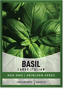 Basil Seeds for Planting (Large Leaf) Heirloom Non-GMO Herb Plant Seeds for Home Herb Garden Indoors, Outdoors, and Hydroponics by Gardeners Basics