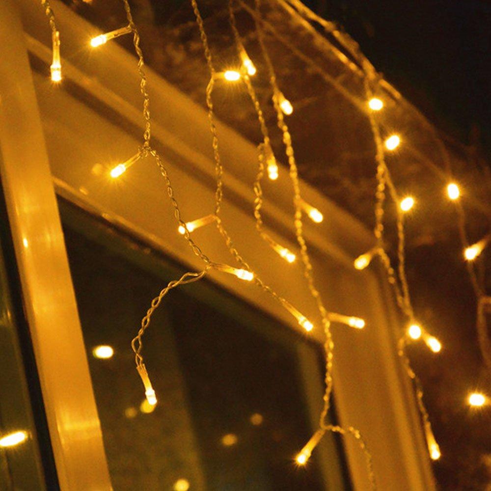 HJ® 200er LED Lichterkette Eisregen, warm-weiss, innen und außen, Wasserdicht Weihnachten Lichterketten 10m innen und außen 12857 ZD-ST-200L10M