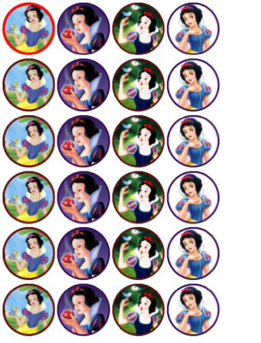 24 Snow White Cupcake Wafer Toppers