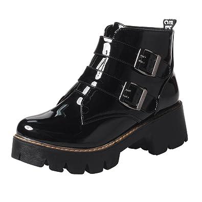 UH Damen Lack Ankle Boots Chunky Heels Stiefeletten mit Fell und Blockabsatz  Schnalle Freizeit Warm Schuhe 4fc6d0a079