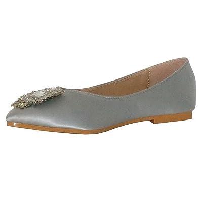 Damen Spitz Zehe Ohne Absatz Flache Schuhe mit Schleife, Grau, 34.5 AalarDom