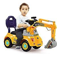 COSTWAY Sitzbagger für Kleinkinder, Kinderfahrzeug mit Zwei Schaufeln, Kinderauto Bagger, Kinderbagger Sandbagger Schaufelbagger, Aufsitzbagger Gelb