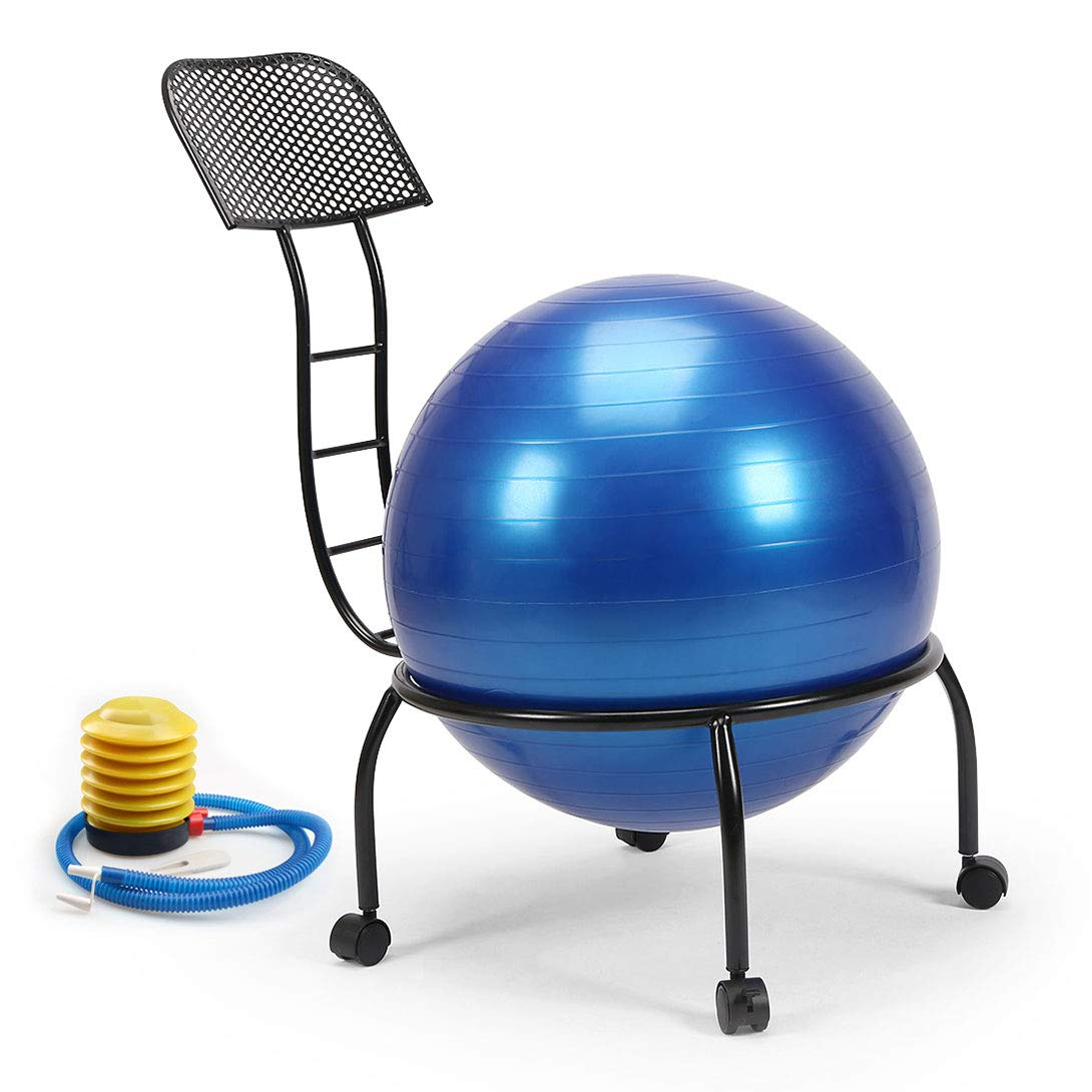 Funmall Adjustable Balance Ball Chair Fitness Stability Yoga Ball Chair with 55cm Blue Yoga Ball, Inflation Pump for Home or Office