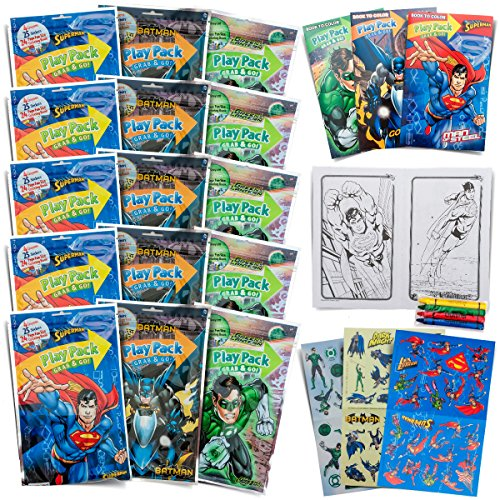 Set of 15 Super Hero Play Packs Fun Party Favors Coloring Book Crayons -