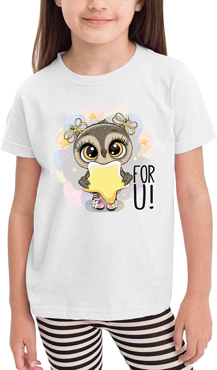 Owl and Stars Girls Cotton Short-Sleeved T-Shirt Cartoon Cute Funny White