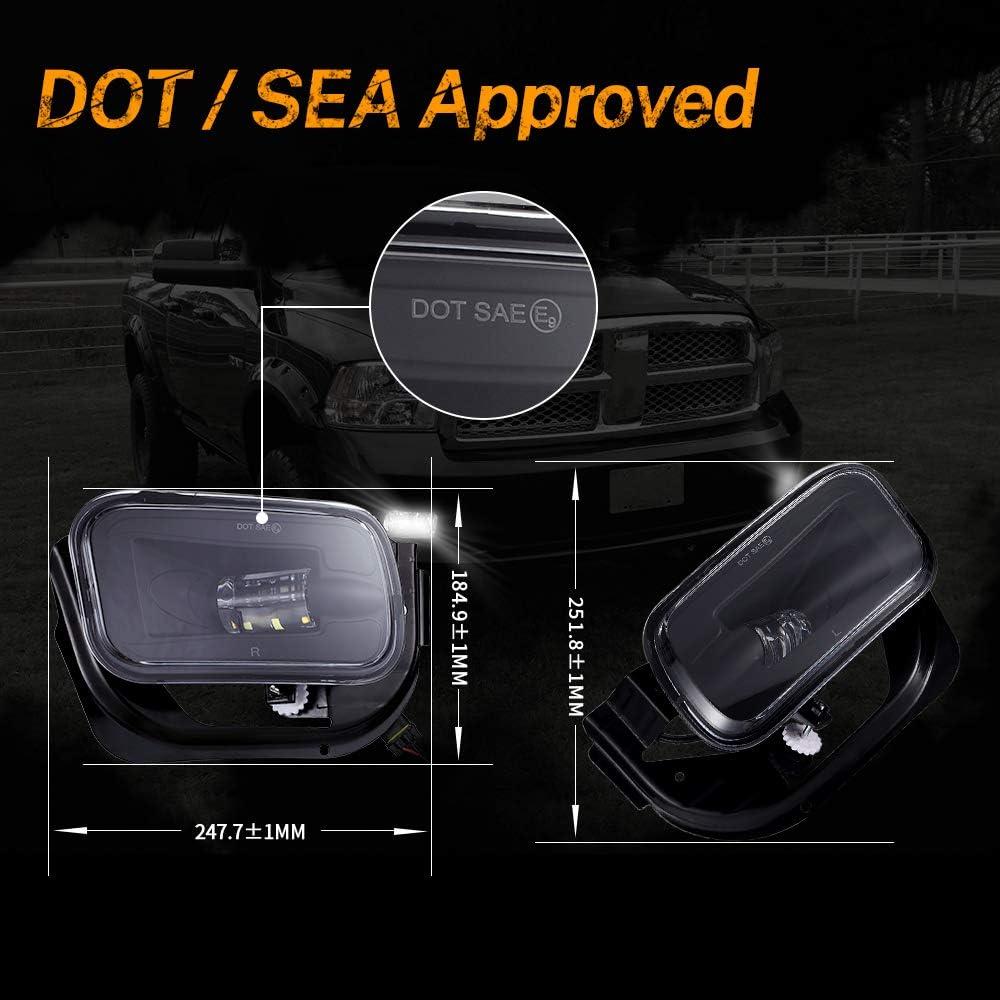 LED Fog Light for Dodge Ram 1500 2009-2012 Dodge Ram 2500//3500 2010-2018 Pickup Truck w//Bracket Replacement 1 Pair Black