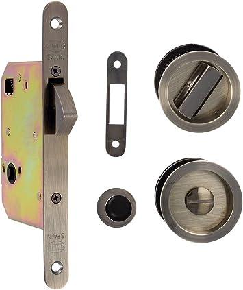 Amig 18761 Kit cerradura puerta corredera, Cuero, 0: Amazon.es: Bricolaje y herramientas