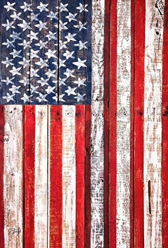 Rustic Arbor - Toland Home Garden American Fence 28 x 40 Inch Decorative Rustic Patriotic USA Stars Stripes House Flag