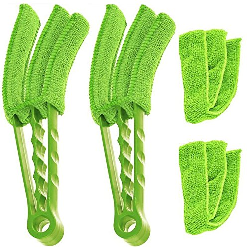 Window Blinds Duster, Brush Air Condition Mini Shutter Venetian Blinds Cleaner Dead corner Multi-function Cleaning With 2 Machine Washable Detachable Microfiber Sleeves (2 Pack, green)