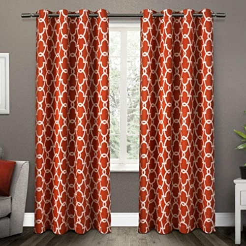Exclusive Home Curtains Gates Sateen Blackout Thermal Window Curtain Panel Pair with Grommet Top, 52×108, Mecca Orange, 2 Piece