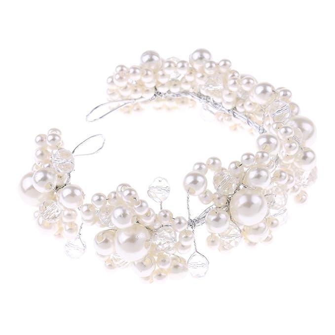 Brautschmuck Weiß Perlengirlande Kopfband Hochzeit Haar Accessoires