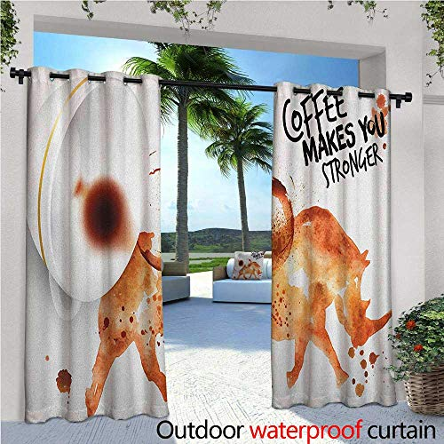 familytaste Coffee Art Outdoor Blackout Curtains Wild Rhino Animal from Spilled Hot Beverage Stain Latte Cappuccino Outdoor Privacy Porch Curtains W72 x L108 Burnt Sienna Black White