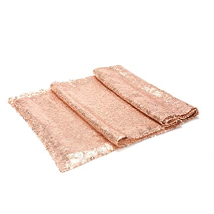 LinTimes Sparkly Sequin Rectangle Tablecloth for Home Birthday Christmas Party Banquet Table Decoration, 12 x 108 inch, Glitter Rose Gold