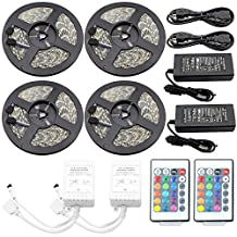 IWISHLIGHT 65.6Ft 20M [4Roll] SMD 5050 1200LEDs [4Roll] Water-resistant Flexible RGB Color Changing LED Strip Lighting + 2 X 24Key Remotes + 2 Power Supply Plug Charger