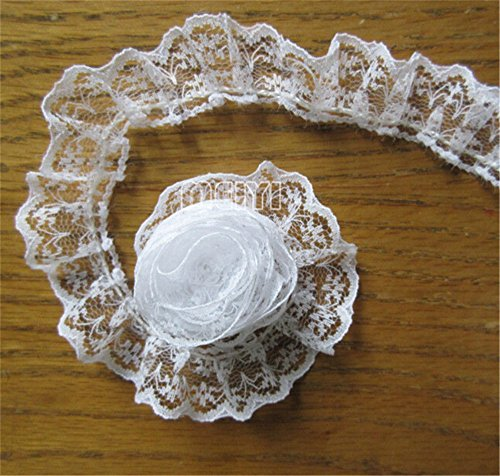 "5 Yard Pleated Organza Lace Edge Gathered Mesh Trim Ribbon Vintage Style White Edging Trimmings Fabric Embroidered Applique Sewing Craft Wedding Bridal Dress Clothes Embroidery (Single Edge, 4/5"")"