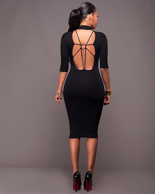 Vestidos Ropa De Moda 2017 para Mujer De Fiesta y Noche Elegante (M, Black) (S, Black) at Amazon Womens Clothing store: