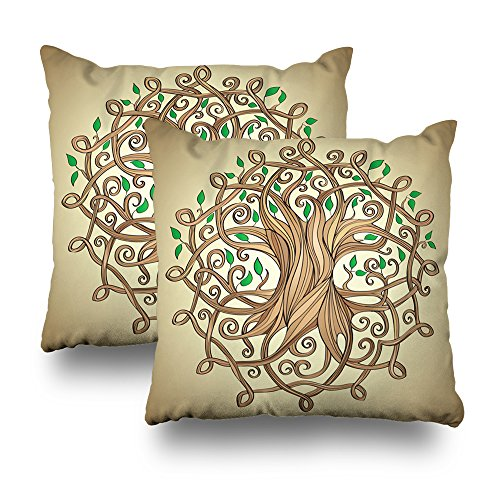 Kutita Decorativepillows Covers 18 x 18 inch Throw Pillow Covers,Amazing Tree of Life in Celtic with Leaves Pattern Double-Sided Decorative Home Decor Pillowcase Garden Sofa Bedroom Car Nice Gift