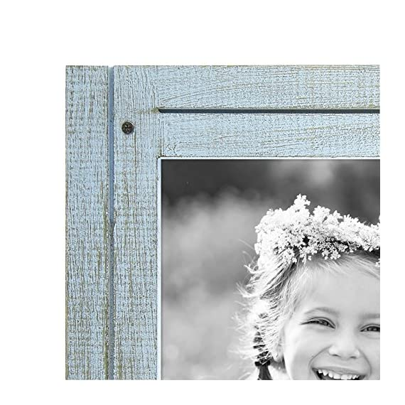 Americanflat 8x10 Robin Blue Distressed Wood Frame - Made to Display 8x10 Photos - Ready to Hang or Stand with Built-in Easel - Design: Robin blue distressed 8x10 inch frame, perfect for your cherished memories, family portrait and vacation photos; comes with hanging hardware for hassle-free display in both horizontal and vertical formats to hang flat against the wall; includes an easel stand for tabletop or desktop display in portrait orientation Material: Textured wood frame with a polished glass front that gives a clear view of your picture and preserves your photographs, cards and memories; the wood on the face of the frame is hand painted to give it a rustic feel Quality: Durable, rustic frame; the frame's front has clear glass and a sturdy backboard to keep the photo in place - picture-frames, bedroom-decor, bedroom - 61rSjTAfoUL. SS570  -