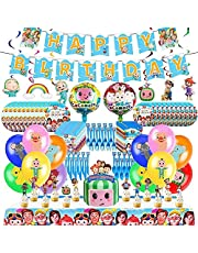 Cocomelons Party Supplies Set Birthday Party Decorations Included Happy Birthday Banner, Hanging Swirls, Cake Toppers, Plates, Knife, Forks, Spoons, Napkins, Balloons, Table Cover, Gift Bags for kids