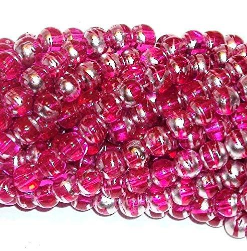 Bright Pink Silver Metallic Drawbench Swirl 8mm Round Glass Beads 16 ()
