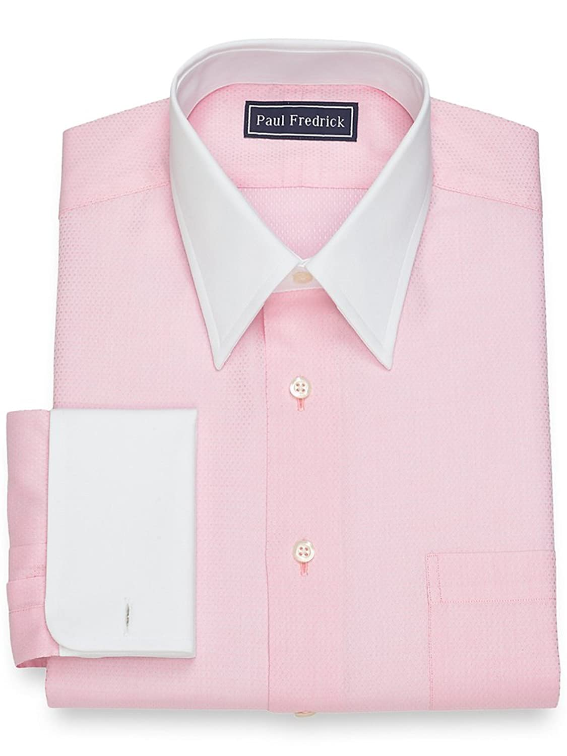 1920s Style Mens Shirts | Peaky Blinders Shirts and Collars Paul Fredrick Mens Slim Fit Diamond Pattern Dress Shirt $84.50 AT vintagedancer.com