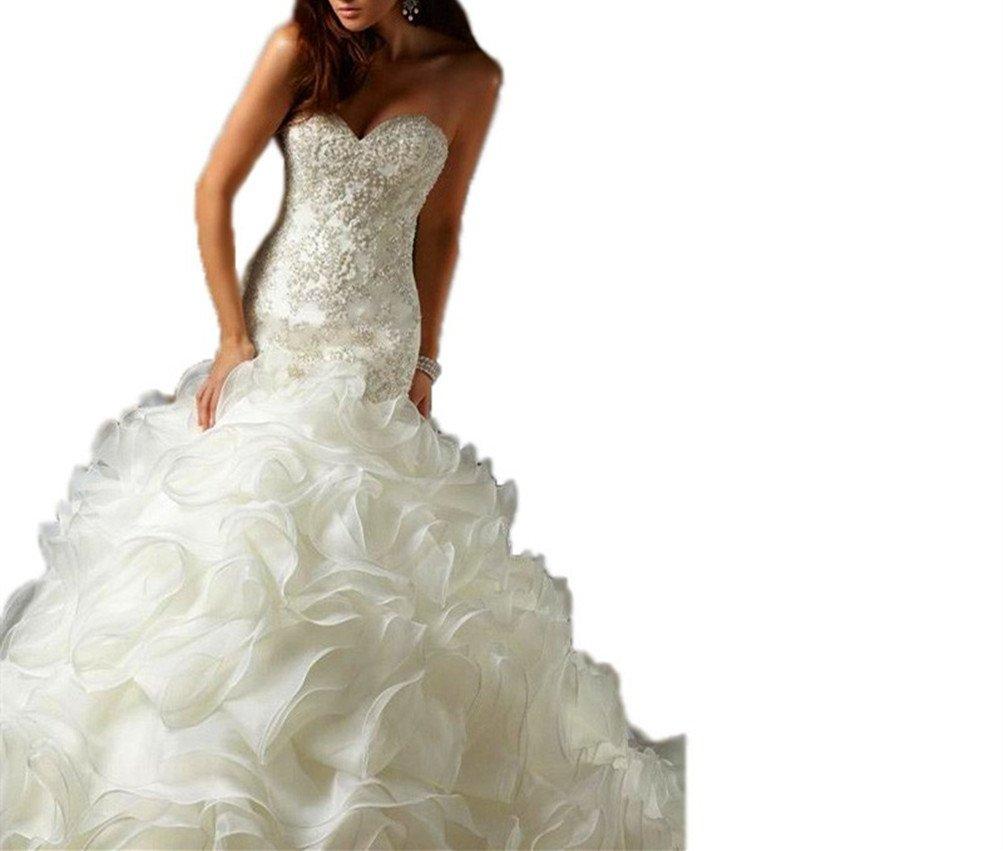 Tsbridal Mermaid Wedding Dress 2018 Beaded Sweetheart Bride DressesXC069White Lace-up Back-US8