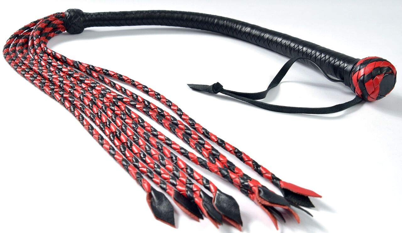 Bare Sutra Red & Black Flogger | Cat O Nine Tails Cowhide Thick Leather Fully Handmade | 9 Tails 18'' Long | 16'' Beautiful Genuine Leather Braided Sturdy Handle | 34'' Excluding Handle Loop | 320g by Bare Sutra