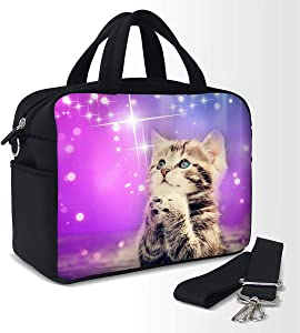 Insulated Lunch Bag Bags for Women Men Keep Food Cold or Warm 10 Hours 10L Large Thermal Lunchbag Tote Sack Box Boxes Cooler Neoprene Reusable with Zipper (cat)
