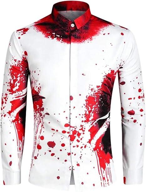 ღLILICATღ Camisas con Manga Larga para Fiesta de Halloween con Huellas de Sangre de Halloween para Hombre Camisetas Manga Larga Hombre Solapa Camisa: Amazon.es: Deportes y aire libre