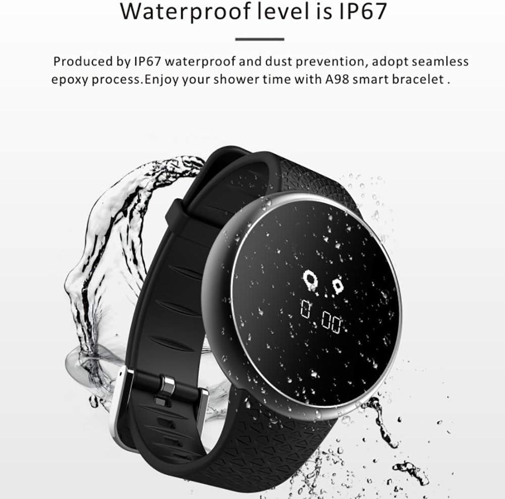 TCYLZ Montre intelligente A98, étanche, moniteur de fréquence cardiaque et de pression artérielle, pour homme et femme, montre de sport intelligente pour Android et iOS Noir