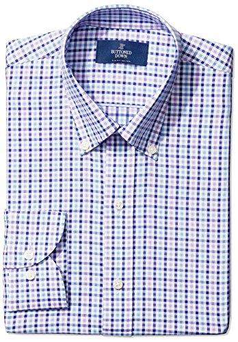 BUTTONED DOWN Men's Slim Fit Button-Collar Large Tatersol Non-Iron Dress Shirt, Purple/Blue/Navy Shepherd Check 16.5 -