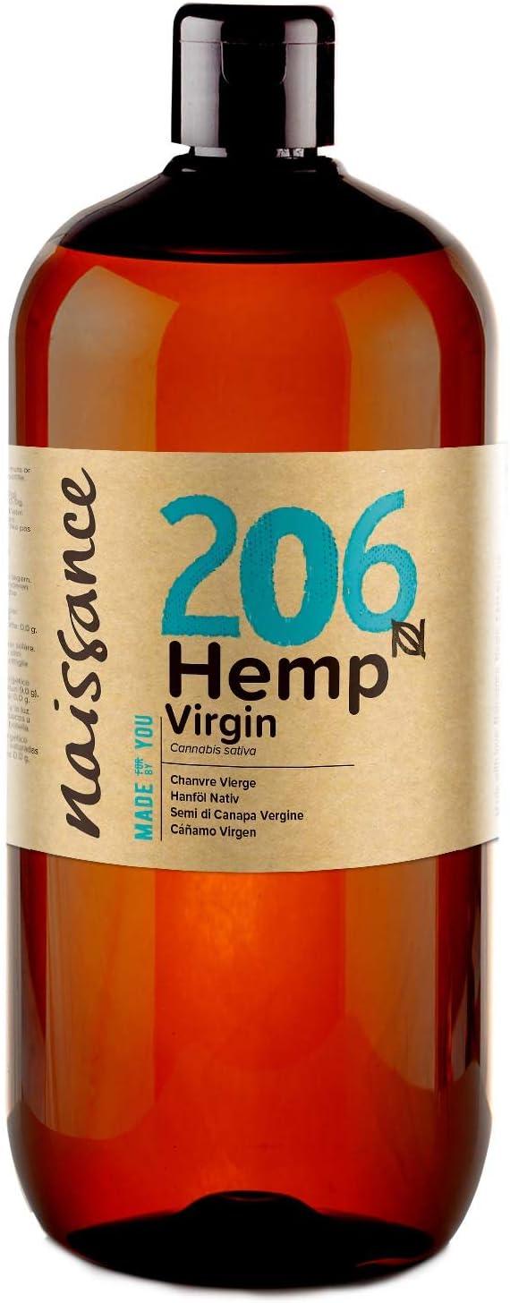 Naissance Aceite Vegetal de Semillas de Cáñamo n. º 206-1 Litro - 100% puro, prensado en frío, virgen, vegano y no OGM