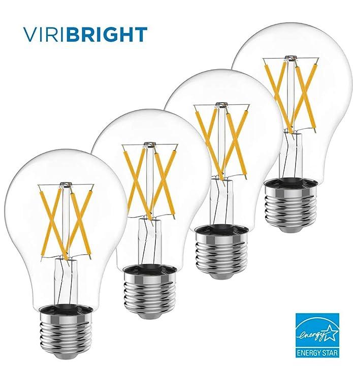 Viribright Dimmable LED Vintage Light Bulb, (7.5W) 60 Watt Equivalent, Soft White 2700K, A19 Bulb w/ E26 Medium Screw Case, Energy Star & UL Listed, 810 Lumens - 4 Pack