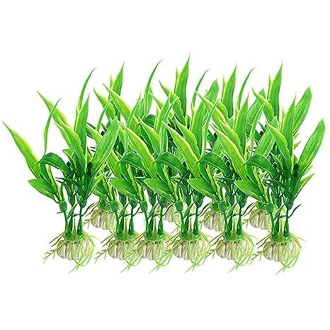 Owikar - Plantas artificiales para acuario, 100 piezas, plantas de plástico verde acuario,
